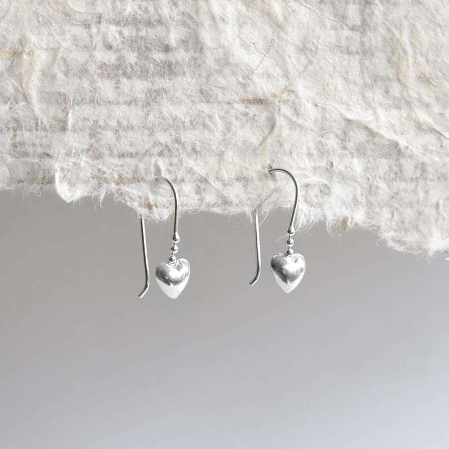 Silver Dainty Heart Earrings