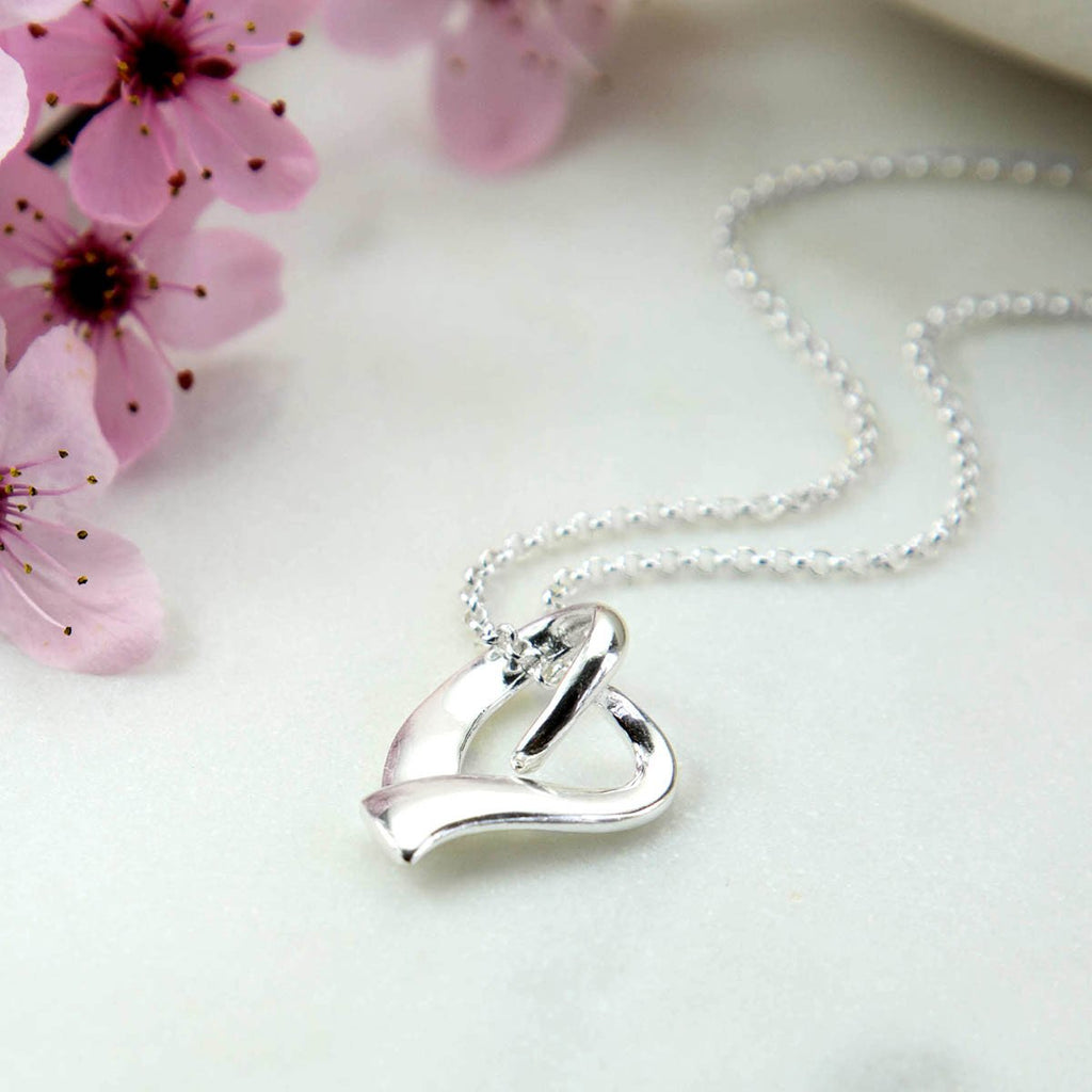 Silver Heart Ribbon Necklace