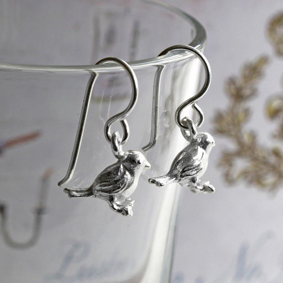 Silver Bird on Branch Earrings