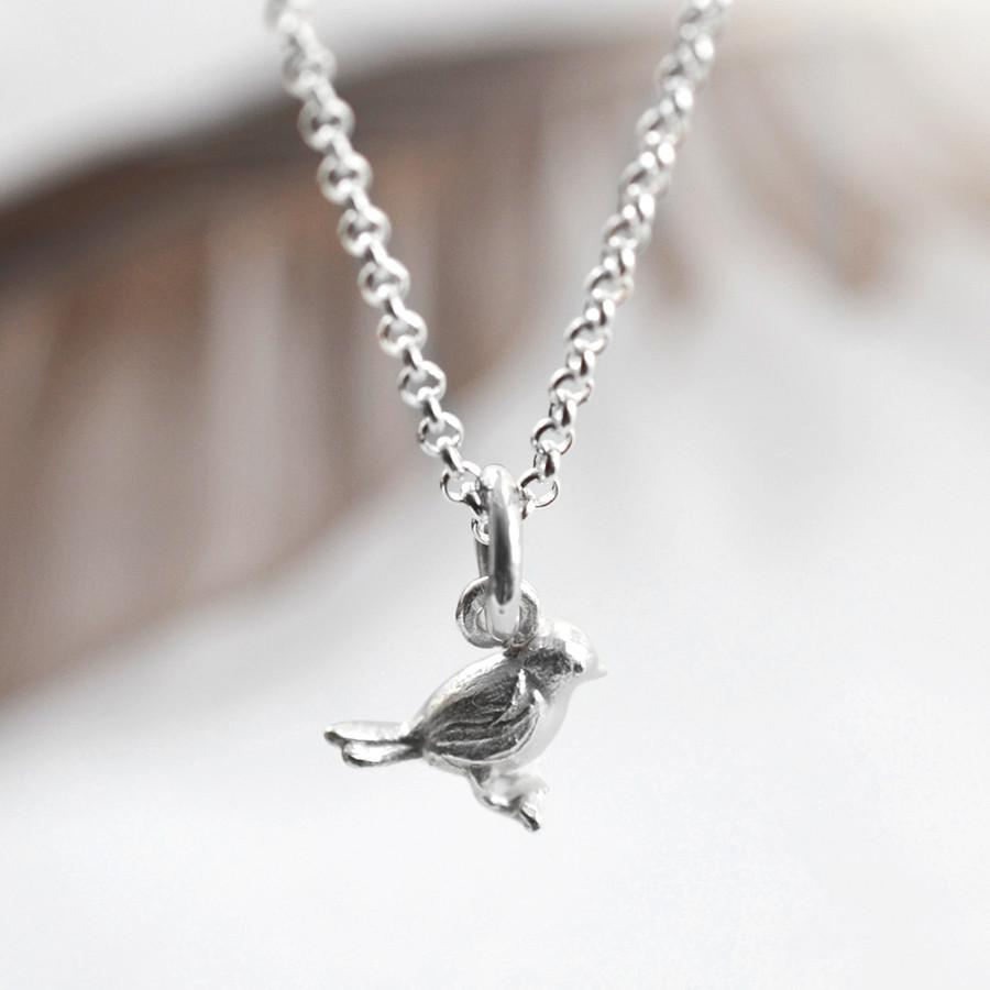 Silver Bird on Branch Necklace
