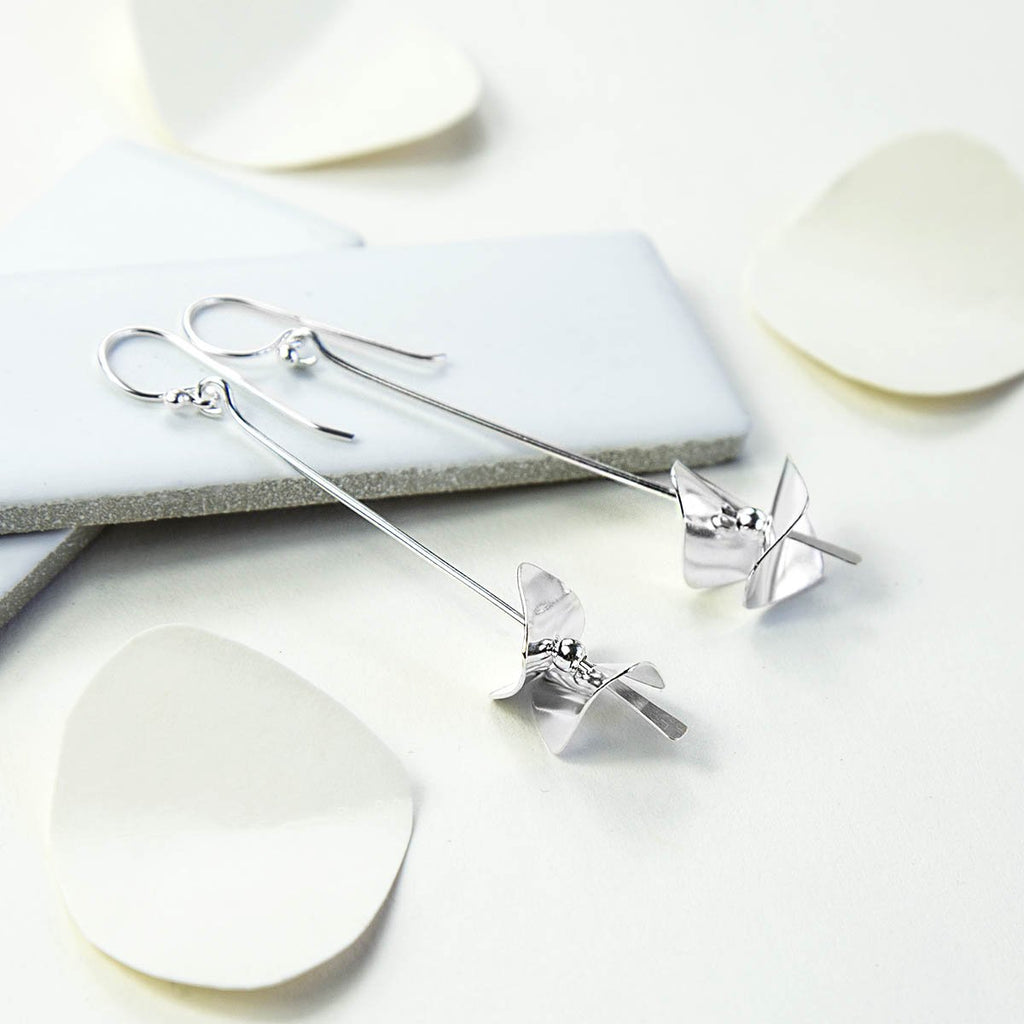 Silver Confetti Drop Earrings