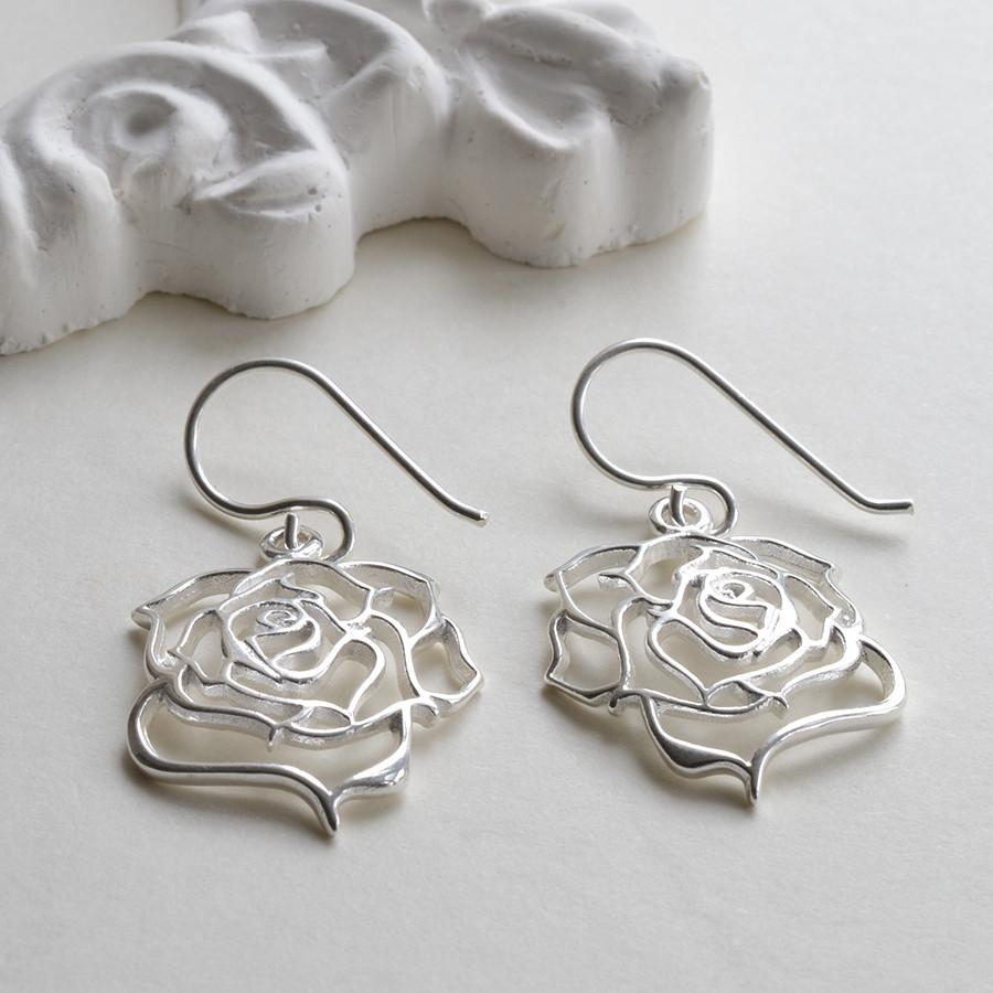 Silver Filigree Rose Earrings