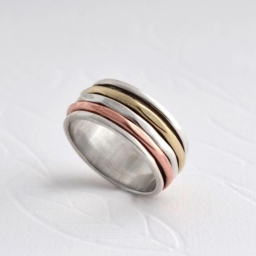 Mixed Metal Spinning Triple Band Ring
