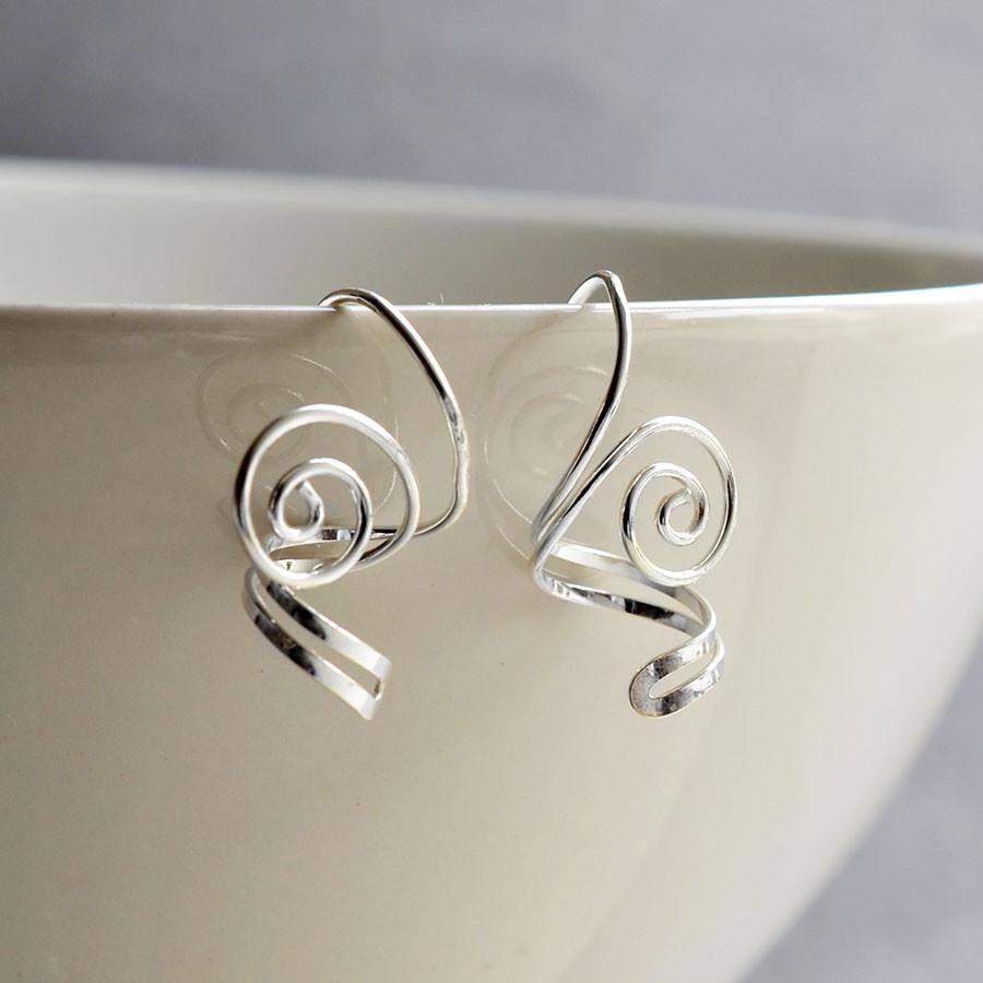 Silver Twist and Spiral Earrings