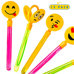 12 Pack Giant Bubble Wands Emoji Party Favor Toys - Bulk Bubbles Party Favors Clapper Toys For Kids