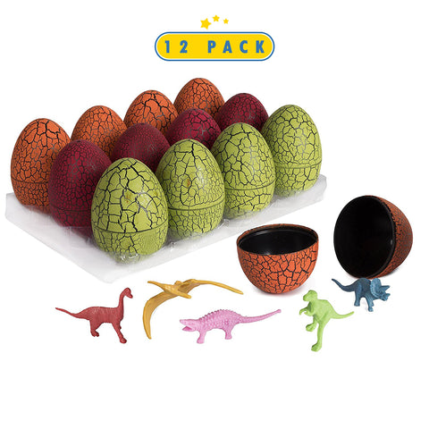 12 Pack Dinosaur Eggs With Mini Dinosaur Figures In Jurassic Dino Egg- Easter Eggs Basket Stuffers For Party Kids Easter Gift - Dinosaur Toys Party Favors