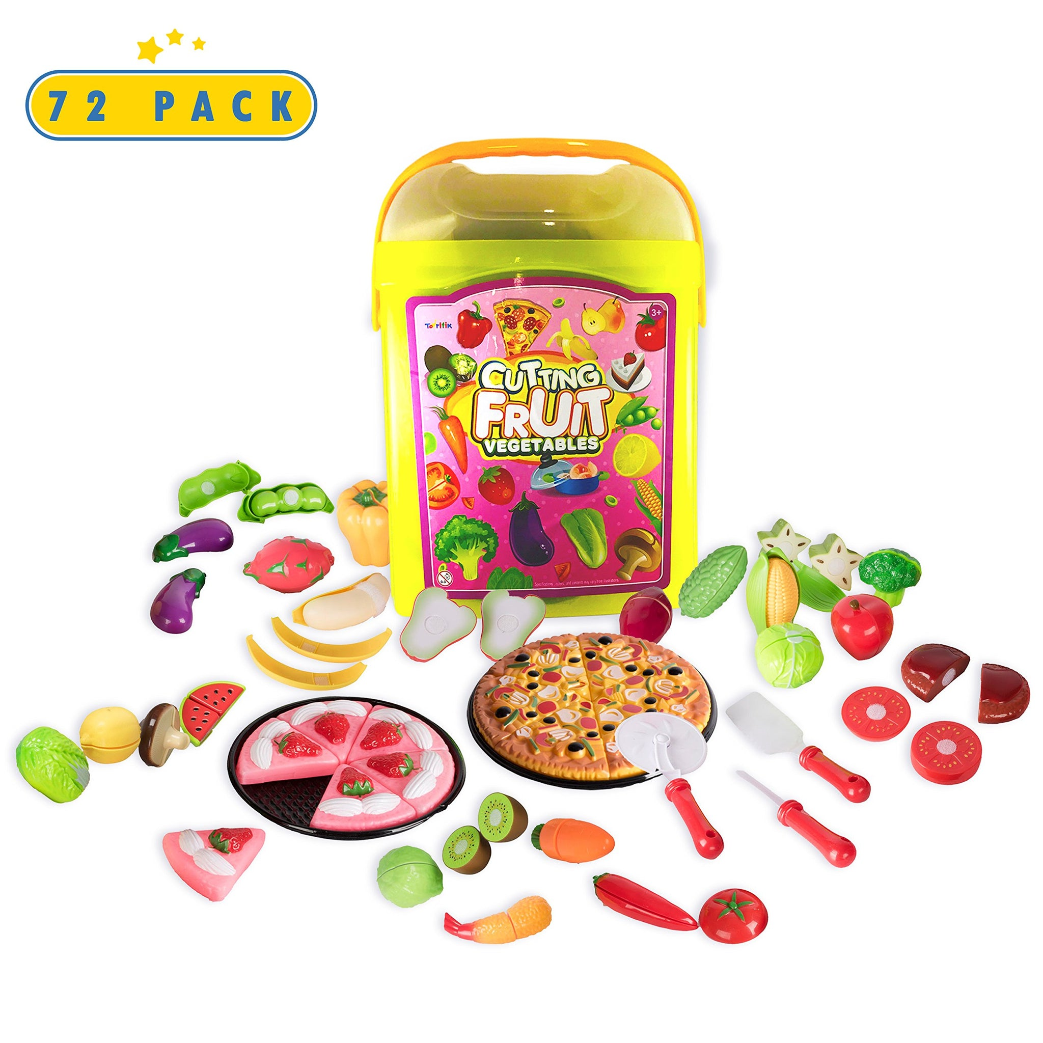 Play Food Kitchen Toys Set - 72 Piece Fake Fruits And Vegetables Toddler Cutting Play-Set