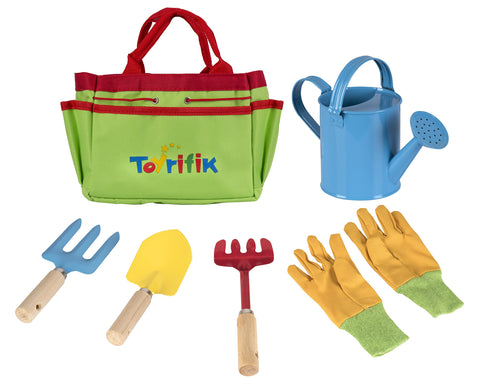 Little Gardener Tool Set With Garden Tools Bag For Kids Gardening - Kit Includes Watering Can, Children Gardening Gloves, Shovel, Rake, Fork And Garden Tote Bag-Children Gardening All In One Kit