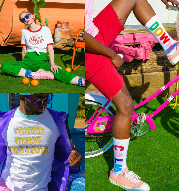 "This image contains a person sitting down wearing the white and red ""you need to calm down"" tee, a photo of a person wearing the white tee with multicolor lyric design,  a photo of a person wearing the white socks with ""calm down"" lettering"