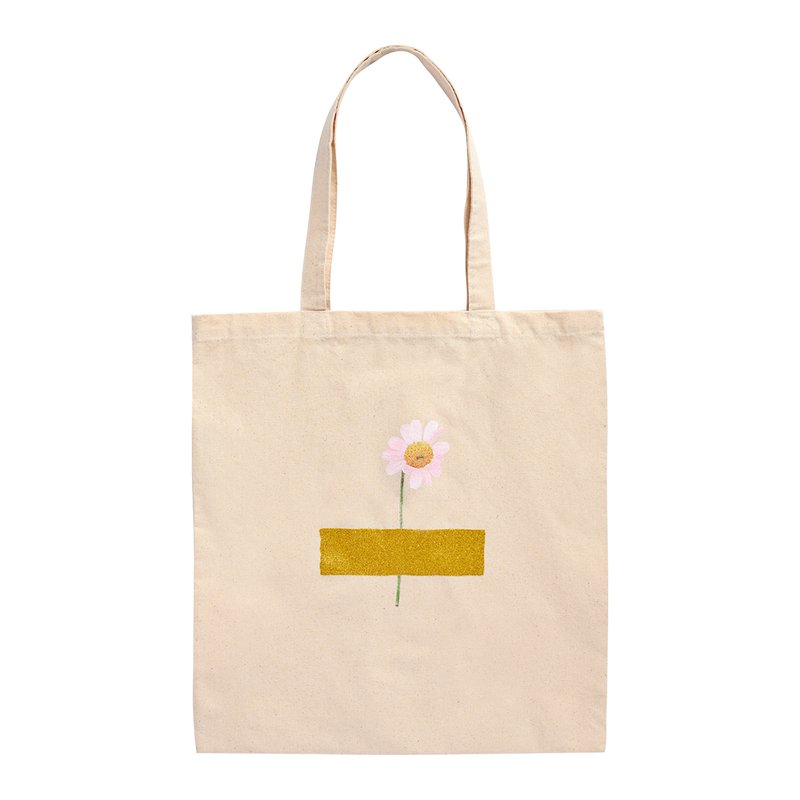 BEIGE TOTE WITH FLORAL DESIGN