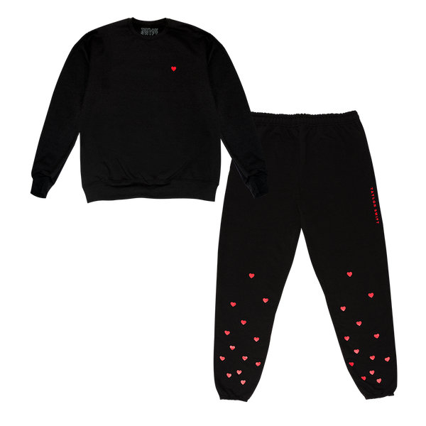 Black Crewneck And Jogger Set With Hearts