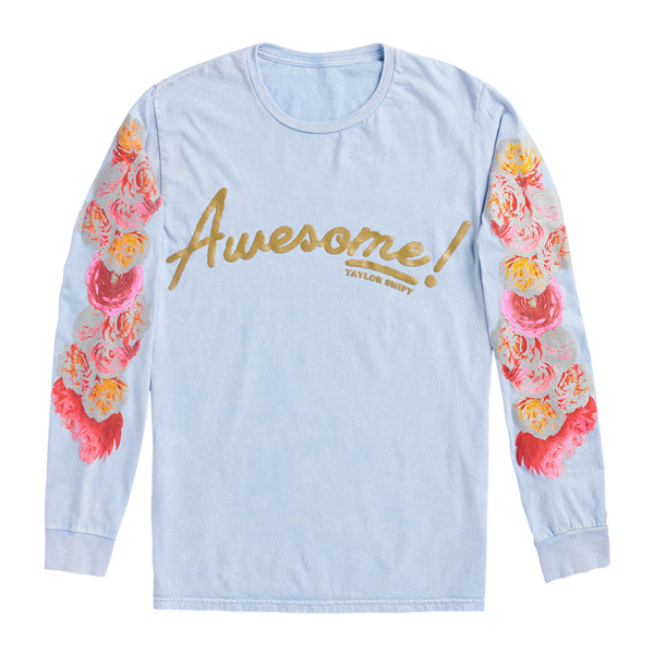 BLUE LONG SLEEVE TEE WITH FLOWER SLEEVE DESIGN