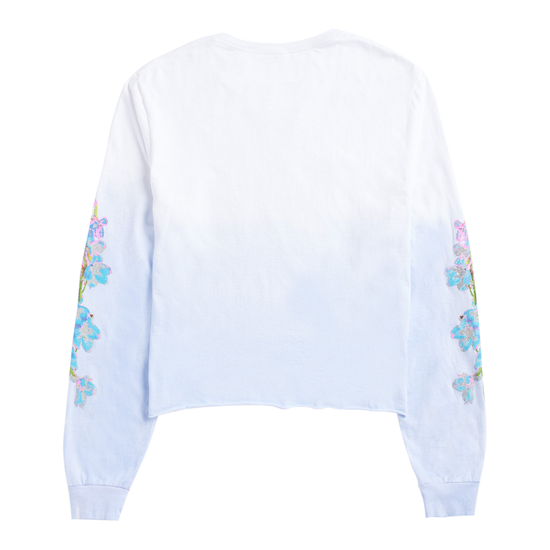 BLUE COLOR FADE LONG SLEEVE CROP TEE
