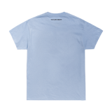 BLUE TEE WITH BLOCK LETTER LYRIC DESIGN