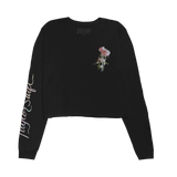 Black Flower Cropped Long Sleeve Tee