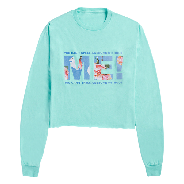 CELADON LONG SLEEVE CROP TEE WITH FLORAL PHOTO DESIGN