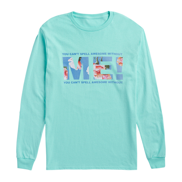 CELADON LONG SLEEVE TEE WITH FLORAL PHOTO DESIGN