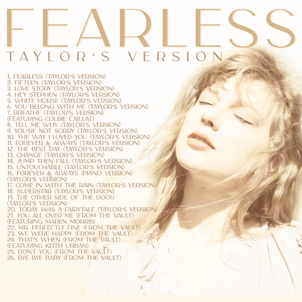 Fearless (Taylor's Version) digital standard edition back cover