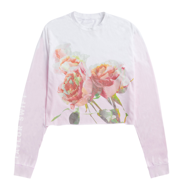 PINK COLOR FADE LONG SLEEVE CROP TEE