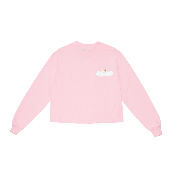 Pink Swans Long Sleeve Crop Tee