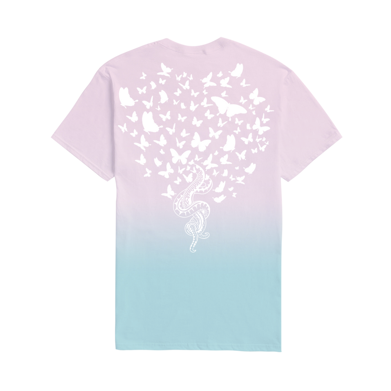 Pink and Blue Tee with Snakes and Butterflies Design