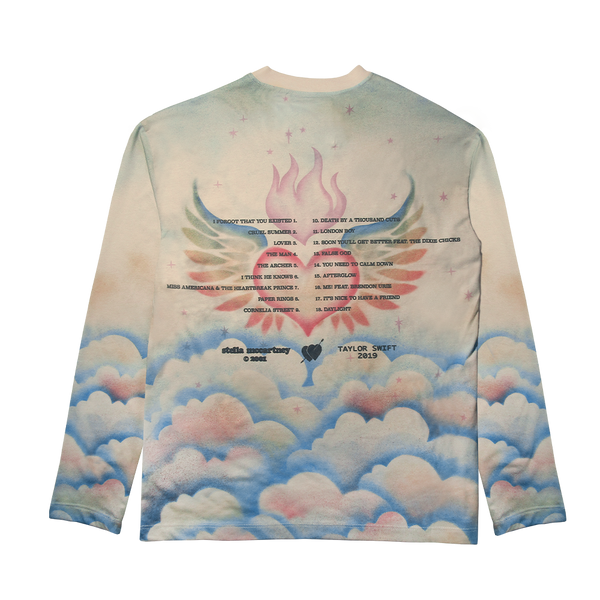 STELLA X TAYLOR SWIFT HEART AND CLOUDS AIRBRUSH EFFECT DESIGN L/S TEE