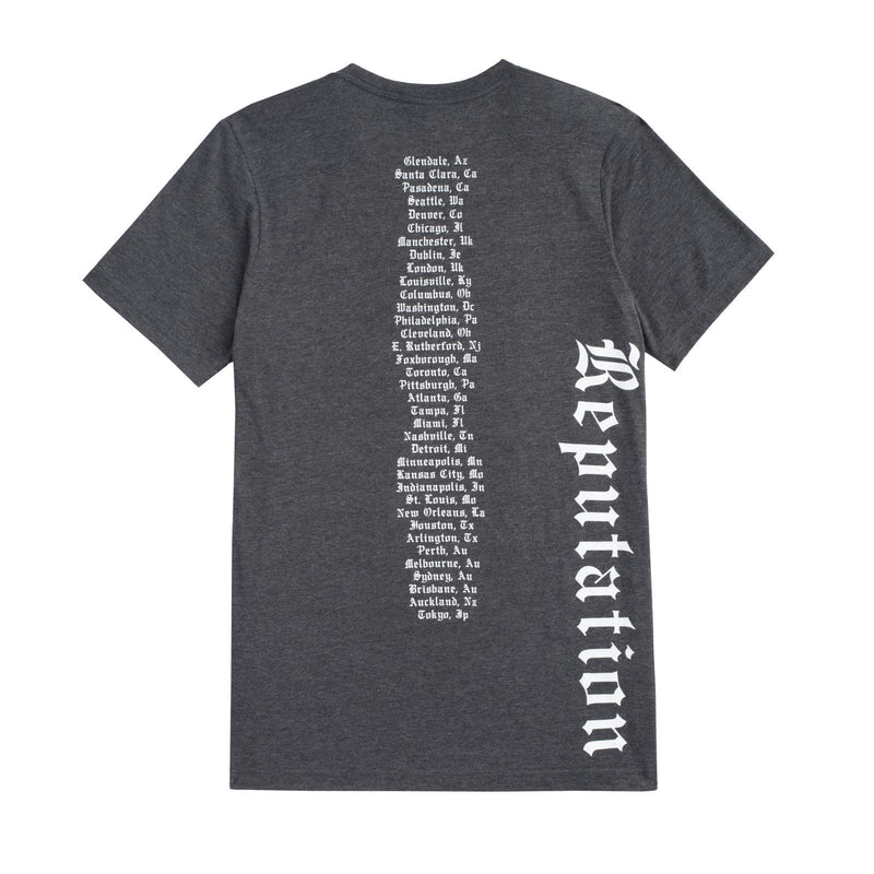 Back of the DARK GREY HEATHER ALBUM TOUR TEE