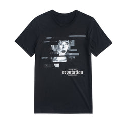 Front of the BLACK TOUR TEE WITH BLOCK DESIGN