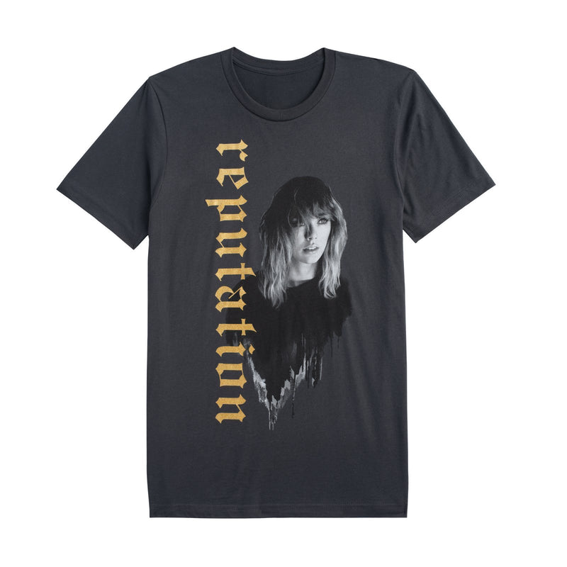 Front of the DARK GREY TOUR TEE WITH REPUTATION IN GOLD