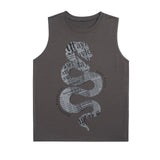 Front of the DARK GREY TOUR TANK WITH SNAKE DESIGN