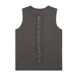 Back of the DARK GREY TOUR TANK WITH SNAKE DESIGN
