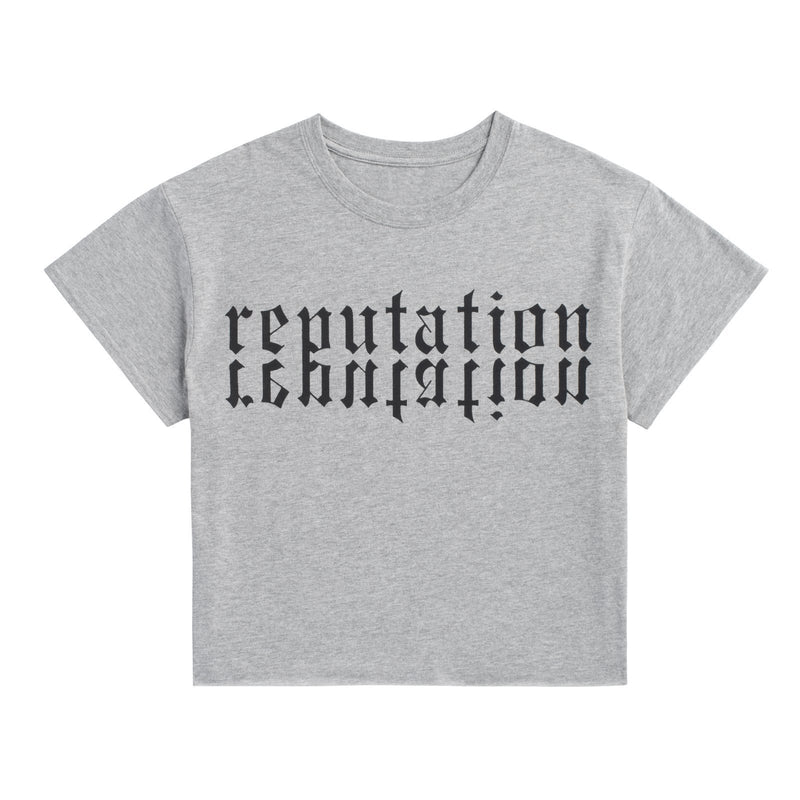 Front of the HEATHER GREY REPUTATION CROP