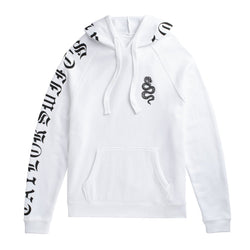 Front of the WHITE TOUR HOODIE WITH SNAKE DESIGN