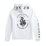 Back of the WHITE TOUR HOODIE WITH SNAKE DESIGN