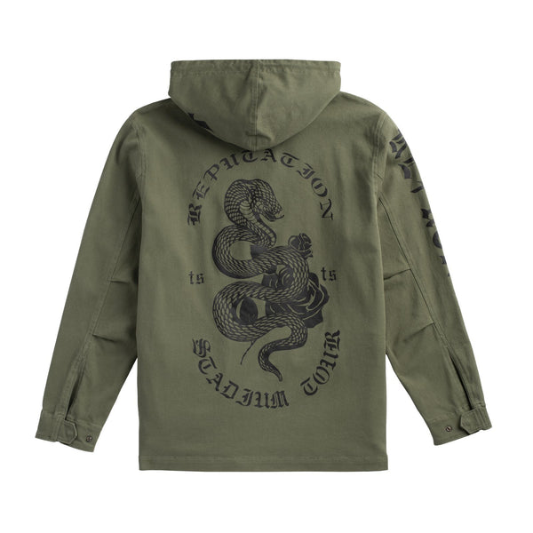 Back of the OLIVE TOUR JACKET WITH SNAKE DESIGN