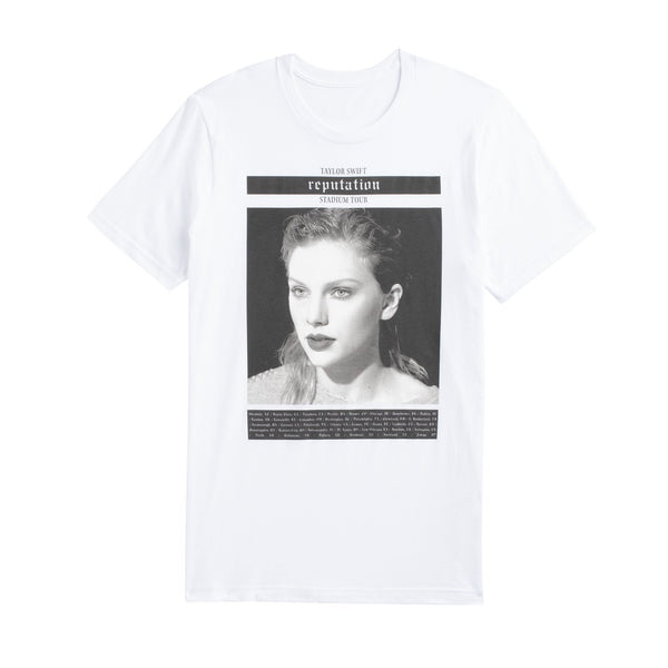 Front of the WHITE TOUR TEE WITH PHOTO