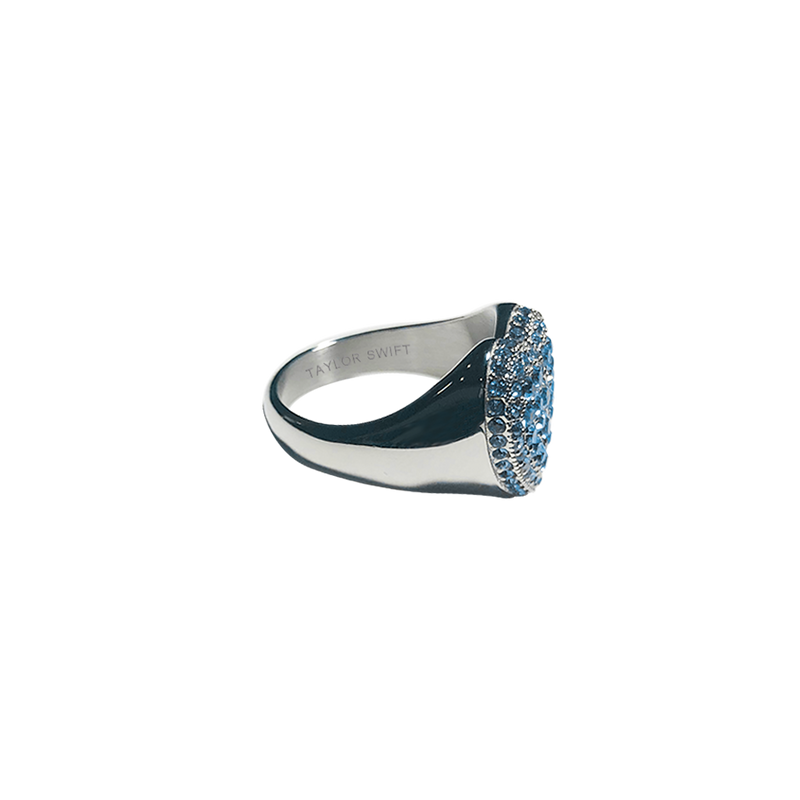 HEART RING WITH BLUE CRYSTALS
