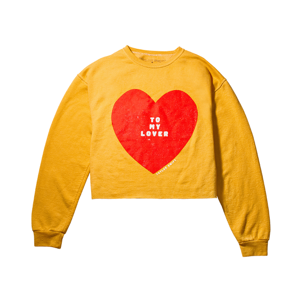 HEART DESIGN CREWNECK CROPPED SWEATSHIRT