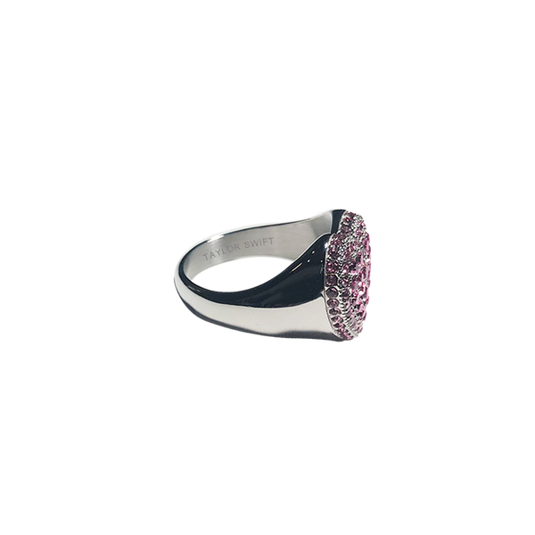 HEART RING WITH PINK CRYSTALS