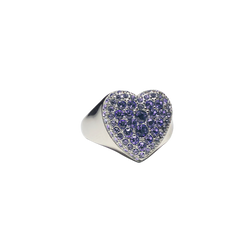 HEART RING WITH PURPLE CRYSTALS