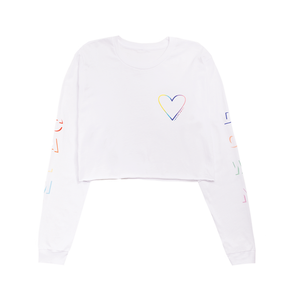 "White Long Sleeve Crop with ""Calm Down"" Sleeve Design"