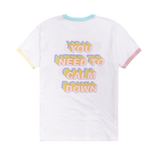 White Tee With Multicolor Lyric Design