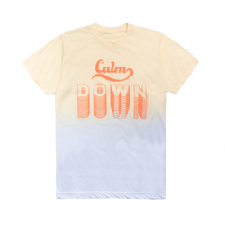 "Yellow and Blue Color Fade ""Calm Down"" Design Tee"