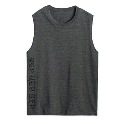 Front DARK HEATHER GREY MUSCLE TEE
