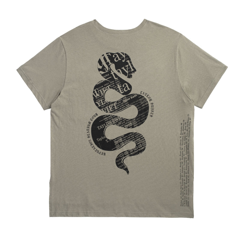 Back of the GREEN POCKET TOUR TEE WITH SNAKE DESIGN