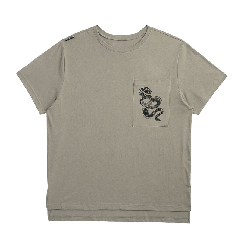 Front of the GREEN POCKET TOUR TEE WITH SNAKE DESIGN