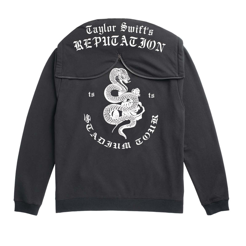 Back of the BLACK TOUR HOODIE WITH SNAKE DESIGN