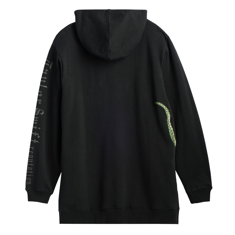 Back of the BLACK HOODIE WITH GREEN SNAKE DESIGN