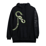 Front of the BLACK HOODIE WITH GREEN SNAKE DESIGN