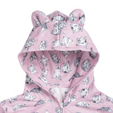 Close up on Front Hood on the PINK MEREDITH AND OLIVIA PJ'S